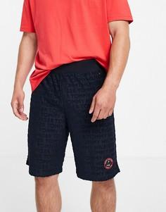 Темно-синие махровые шорты с маленьким теннисным логотипом Tommy Hilfiger-Темно-синий