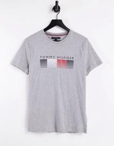 Серая футболка для дома с логотипом на груди и окантовкой на вороте Tommy Hilfiger-Серый