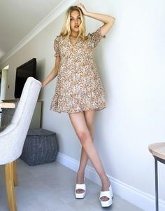 Чайное платье с цветочным принтом в стиле ретро Influence-Multi