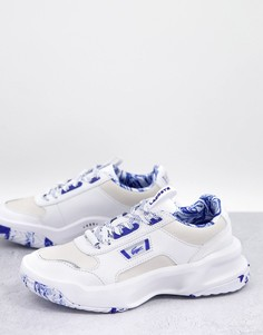 Бело-синие кожаные кроссовки на массивной подошве с мраморным принтом Lacoste Ace Lift-Белый