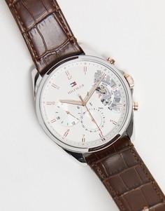 Мужские часы с открытым механизмом и кожаным ремешком коричневого цвета Tommy Hilfiger 1710450-Коричневый цвет