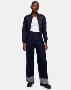 Широкие джинсы цвета индиго Topshop-Голубой
