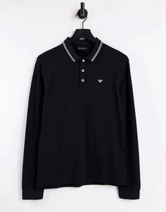 Черное узкое поло с длинными рукавами и двойной окантовкой Emporio Armani-Черный цвет