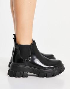 Черные лакированные ботинки на массивной подошве Miss Selfridge-Черный цвет