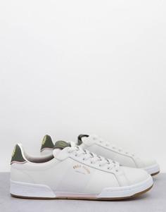 Белые кожаные кроссовки с золотистым логотипом Fred Perry-Белый