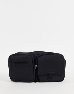 Черная нейлоновая прямоугольная сумка через плечо с несколькими отделениями ASOS DESIGN-Черный