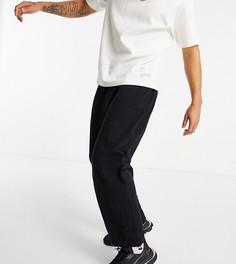 Черные oversized-джоггеры изорганического хлопка сфиксаторами на штанинах ASOS DESIGN-Черный цвет