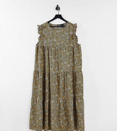 Ярусное платье миди без рукавов с леопардовым принтом и оборками ASOS DESIGN Curve-Multi