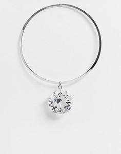 Серебристое ожерелье-чокер с крупной подвеской-кристаллом Ego-Серебристый