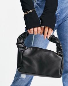 Черная сумка на плечо со сборками на ручке и цепочкой Ego x Maura-Черный цвет