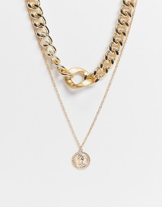 Золотистое многоярусное ожерелье-чокер с массивной цепочкой и круглой подвеской EGO-Золотистый
