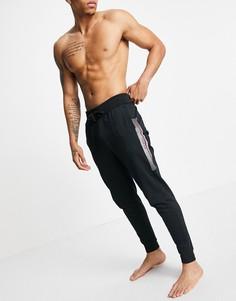 Черные джоггеры с логотипом сбоку BOSS Bodywear-Черный цвет