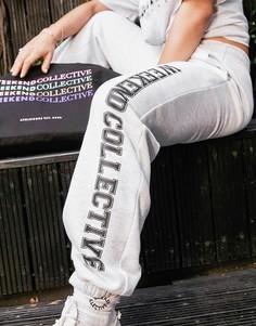 Белые меланжевые oversized-джоггеры с принтом в университетском стиле ASOS Weekend Collective-Серый