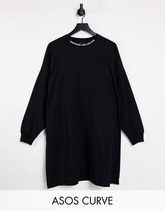 Черное платье-футболка в стиле oversized с длинными рукавами и высоким воротником ASOS Weekend Collective Curve-Черный цвет