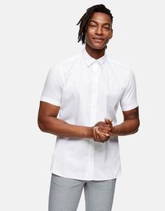 Строгая узкая рубашка премиум белого цвета Topman-Белый