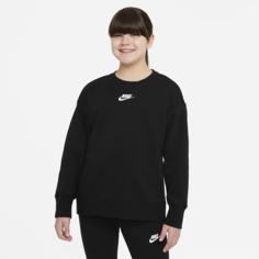 Свитшот для девочек школьного возраста Nike Sportswear Club Fleece (расширенный размерный ряд) - Черный