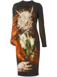 Burberry платье с кейпом и принтом