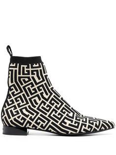 Balmain жаккардовые ботинки с монограммой
