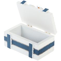 Морская шкатулка Xianju rongxin белая с синим 10х6х5 см