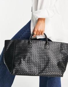 Большая черная плетеная сумка-тоут Glamorous-Черный цвет