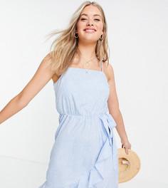Голубое платье на бретельках с оборками и мелким цветочным принтом Vero Moda Tall-Голубой