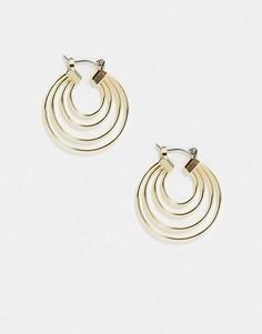 Золотистые серьги-кольца в несколько слоев Pieces-Золотистый