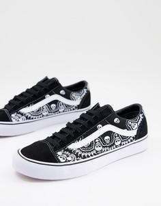 Черно-белые кроссовки с платочным принтом Vans Style 36-Белый