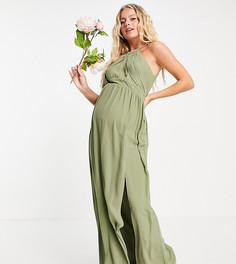 Плиссированное платье макси для подружки невесты тускло-зеленого цвета TFNC Maternity-Зеленый цвет