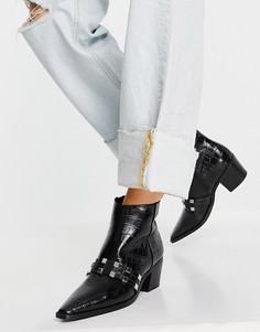 Туфли с эффектом крокодиловой кожи черного цвета с заклепками ALDO Ambara-Голубой