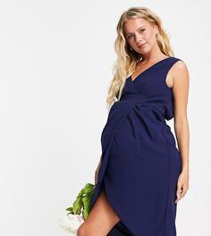 Темно-синее платье миди с запахом для подружки невесты TFNC Maternity-Темно-синий