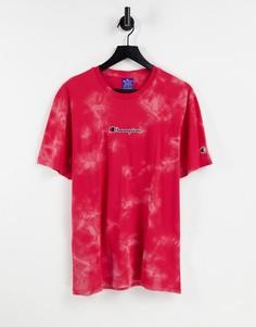 Красная футболка с маленьким логотипом-надписью на груди и принтом тай-дай Champion-Красный