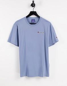 Синяя футболка с небольшим логотипом Champion-Голубой