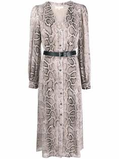 Michael Michael Kors платье-рубашка со змеиным принтом и поясом