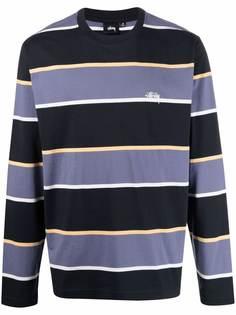 Stussy полосатая футболка с вышитым логотипом