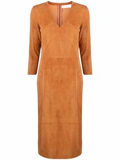 Drome замшевое платье с V-образным вырезом
