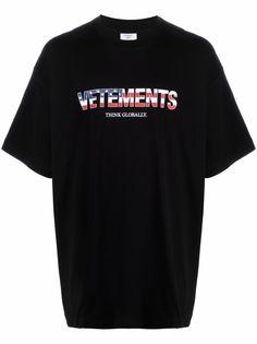 VETEMENTS футболка Think Globally с логотипом