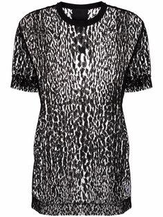 Givenchy прозрачная футболка с леопардовым принтом