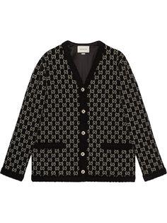 Gucci жаккардовое пальто-кардиган с логотипом GG