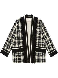 Gucci твидовое пальто-кардиган с длинными рукавами