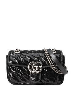 Gucci мини-сумка на плечо GG Marmont с пайетками