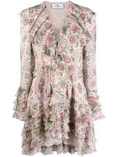 ETRO платье мини с принтом пейсли и оборками