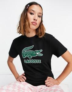 Черная футболка с логотипом в виде крокодила Lacoste-Черный цвет