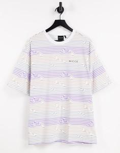 Сиреневая футболка с полосками Nicce-Фиолетовый цвет