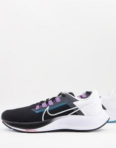 Черно-белые кроссовки Nike Running Air Zoom Pegasus 38-Черный цвет