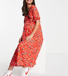 Красное платье миди с запахом спереди и цветочным принтом ASOS DESIGN Maternity-Многоцветный