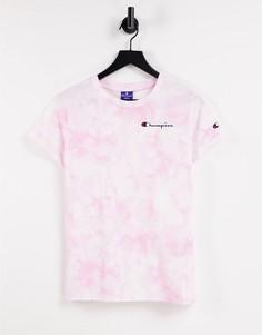 Розовая футболка с принтом тай-дай Champion-Розовый цвет