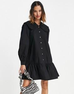 Черное платье с присборенной юбкой и большим воротником Vila-Черный цвет