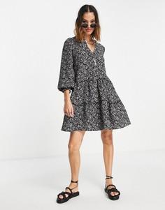 Ярусное платье мини свободного кроя с принтом Vero Moda-Черный цвет