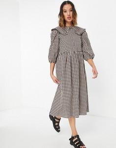 Свободное платье миди в клетку с воротником Vila-Multi