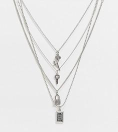 Серебристые ожерелья с винтажными подвесками в виде замка и ключа Reclaimed Vintage Inspired-Серебристый
